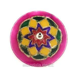 Incensário de Vidro de Mandala Borda Rosa
