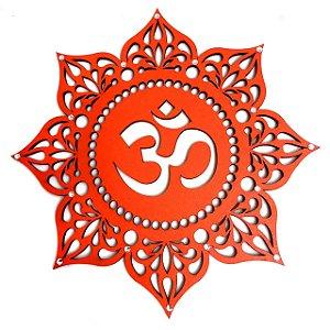 Mandala Mdf do Símbolo OM Laranja