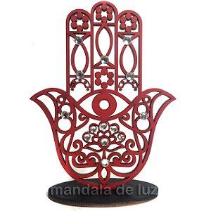 Mão de Hamsá na Base Mini Vermelho Mdf 9,5cm