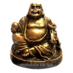 Estátua de Mini Buda Chinês Sorridente com Base