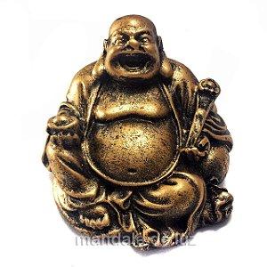 Estátua de Mini Buda Chinês Sorridente Resina