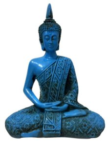 Estátua de Buda Hindu Resina Azul 19,5cm 418
