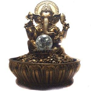 Fonte de Água Estátua de Ganesha Dourado 30cm