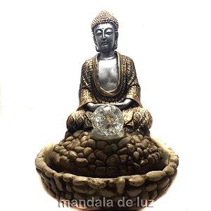 Fonte de Água de Buda Dourado e Prateado 31cm