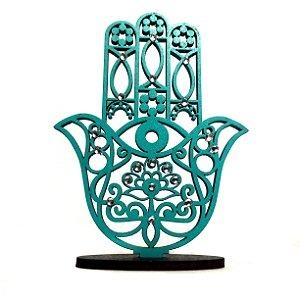 Mão de Hamsá na Base Mini Verde Tiffany em Mdf 9,5cm