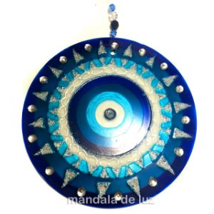 Mandala de Vidro Olho Grego 18cm