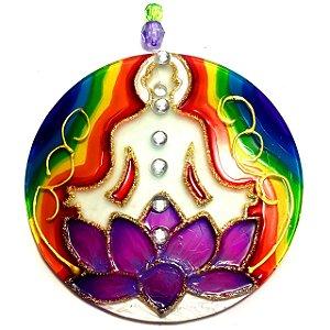 Mandala em Vidro Flor de Lotus Chakras Meditação 10cm - 738
