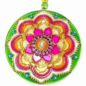 Mandala de Vidro Flor Verde Rosa 10cm - 621