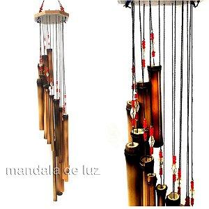 Sino dos Ventos de Bambu e Madeira Mensageiro Vermelho 596