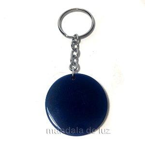 Chaveiro de Disco de Cristal Ágata Azul