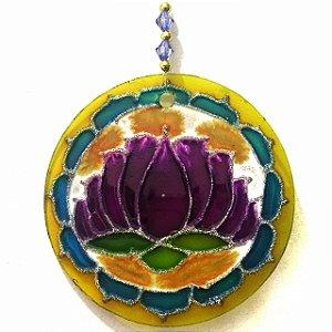 Mandala de Vidro 10cm Flor Amarela Roxa
