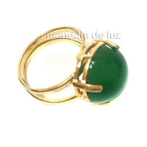 Anel de Pedra Ágata Verde com Regulagem Dourado