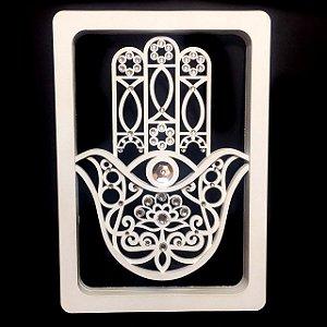 Mão de Hamsá ou Fátima 3D em MDF Branco