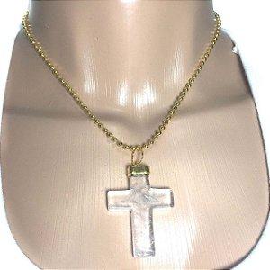 Colar Dourado de Crucifixo Cruz de Cristal Transparente