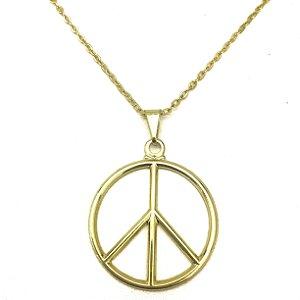 Colar Folheado Ouro Símbolo de Paz e Amor