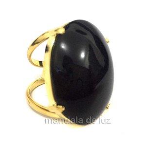 Anel de Pedra Ônix com Regulagem Dourado