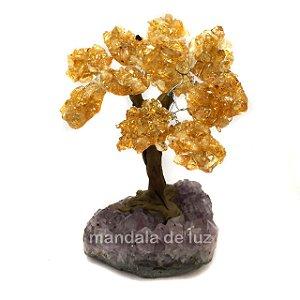 Árvore de Citrino e Ametista Pedras Naturais 13 cm