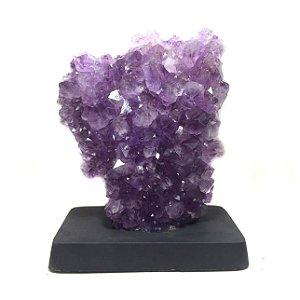 Drusa de Cristal Ametista com Base de Madeira 2,6kg