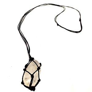 Colar de Pedra Castroada Quartzo Transparente Natural