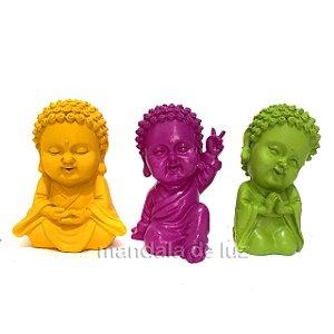 Trio de Estátuas Monge Buda Baby Coloridos 9,5cm
