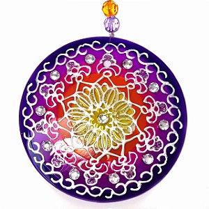 Mandala de Vidro Azul Vermelha Prosperidade 10cm - 620