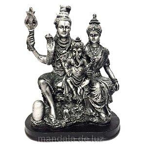 Estátua Família Shiva, Parvati, Ganesha Prateada Resina 26,5cm