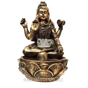 Fonte de Água Shiva com Flor de Lótus Dourado 28cm