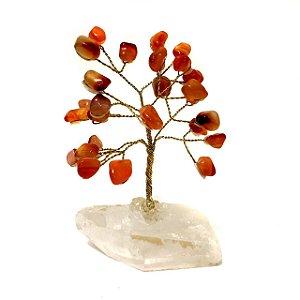 Árvore da Felicidade de Pedras Cristais Cornalina 10cm