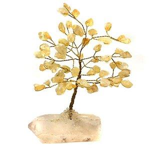 Árvore da Felicidade Pedras Cristal Citrino 14cm