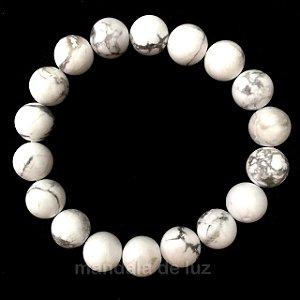 Pulseira de Esferas de Howlita Branca a Pedra de 2018