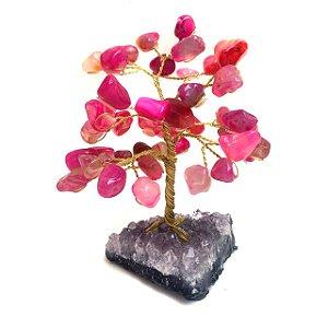 Árvore de Ágata Rosa Pink com Drusa Ametista 10cm