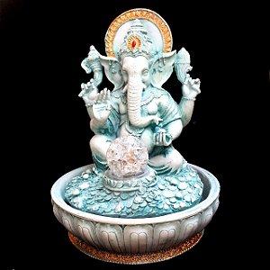 Fonte de Água Estátua de Ganesha Verde Resina 30cm