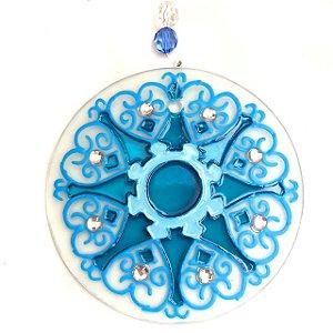 Mandala de Vidro Azul de Harmonia 10cm
