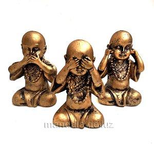 Mini Trio de Estátuas Monge Buda Sábios Cego, Surdo e Mudo 7,5cm