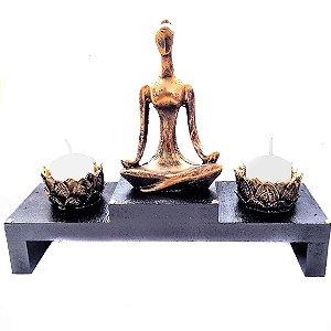 Altar com Castiçal de Yoga Dourado Pequeno 18cm