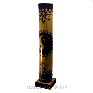 Incensário Pirografado de Bambu YIN YANG