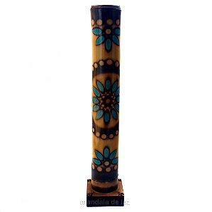 Incensário Pirografado de Bambu Mandala Azul