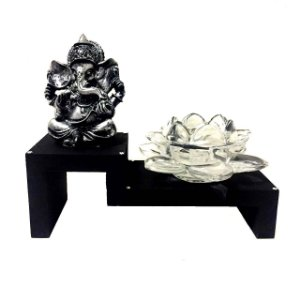Altar Estátua de Ganesha Prateado Castiçal Flor de Lótus Vidro 16cm