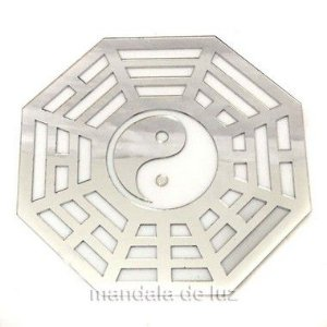 Baguá Yin Yang Acrílico Espelhado Prateado Branco 15cm