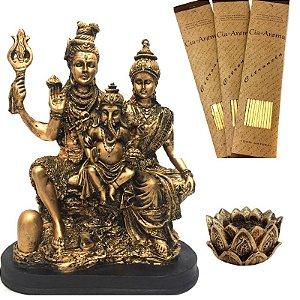 Kit Estátua Família Shiva + Incensário + 3 Incensos Naturais  - 601