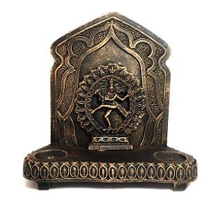 Altar de Shiva Dourado Castiçal e Incensário Aparador
