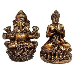 Kit Estátua de Buda + Ganesha Flor de Lotus 15cm