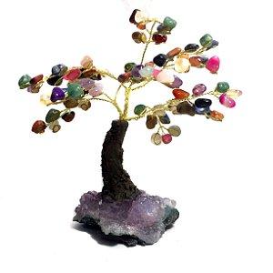 Árvore da Felicidade Pedras Cristais Mistos com Drusa de Ametista 15cm