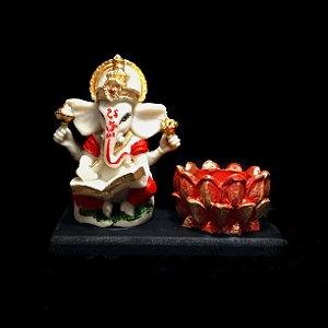 Estátua de Ganesha Colorido e Castiçal 9cm na Base