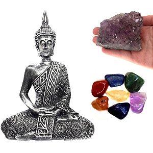 Kit Estátua de Buda + Pedras dos Chakras + Mini Drusa