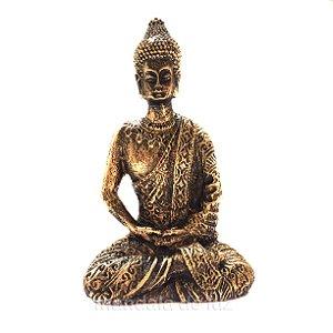 Estátua de Mini Buda Hindu Tibetano Dourado Resina 8,5cm