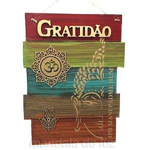Placa Gratidão Mandala OM Mão de Fátima MDF - 865