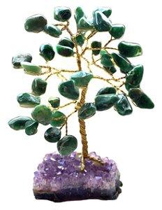 Árvore da Felicidade Pedras Base de Ametista e Folhas de Jade 10cm