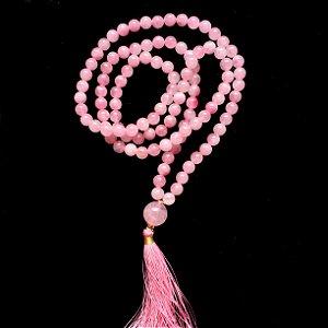 Japamala 108 Contas de Pedra Natural Quartzo Rosa