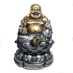 Estátua Buda Chinês Sorridente da Riqueza Flor de Lótus 24cm - 1031
